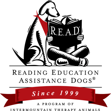Reading Education Assistance Dogs Logo mit Kind und Hund und Buch