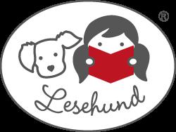 Lesehund-Vereinslogo mit einem Kind uund Hund und Buch
